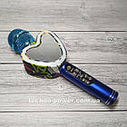 Портативный bluetooth караоке-микрофон Q5 Сердце Синий с подсветкой, фото 4