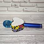 Портативный bluetooth караоке-микрофон Q5 Сердце Синий с подсветкой, фото 5