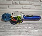 Портативный bluetooth караоке-микрофон Q5 Сердце Синий с подсветкой, фото 7