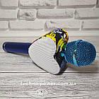 Портативный bluetooth караоке-микрофон Q5 Сердце Синий с подсветкой, фото 8
