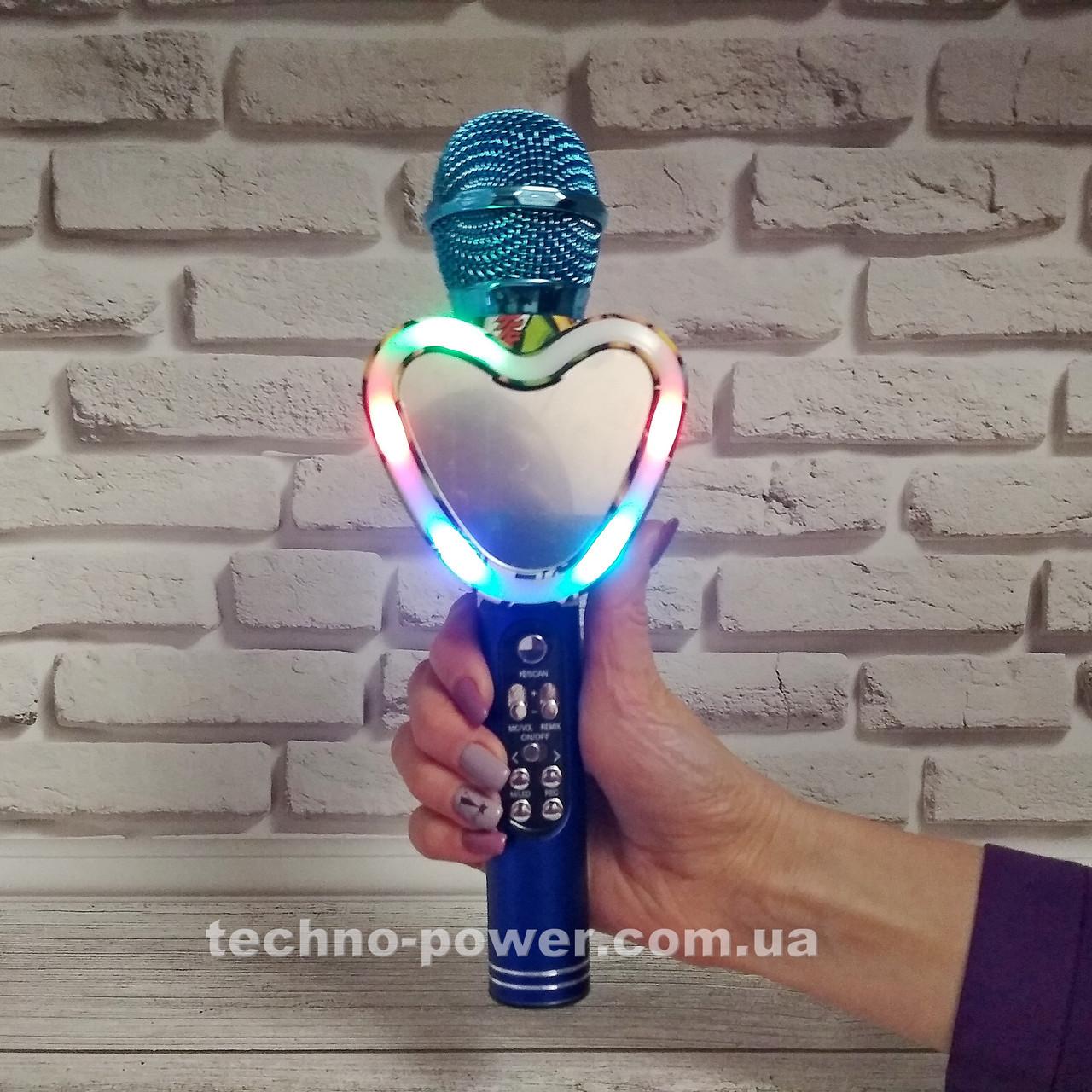 Портативный bluetooth караоке-микрофон Q5 Сердце Синий с подсветкой