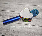 Портативный bluetooth караоке-микрофон Q5 Сердце Синий с подсветкой, фото 10