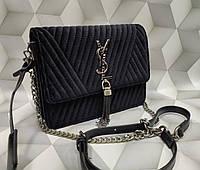 42cf28b24e9a Женская сумка-клатч копия YSL Yves Saint Laurent ткань велюр цвет черный