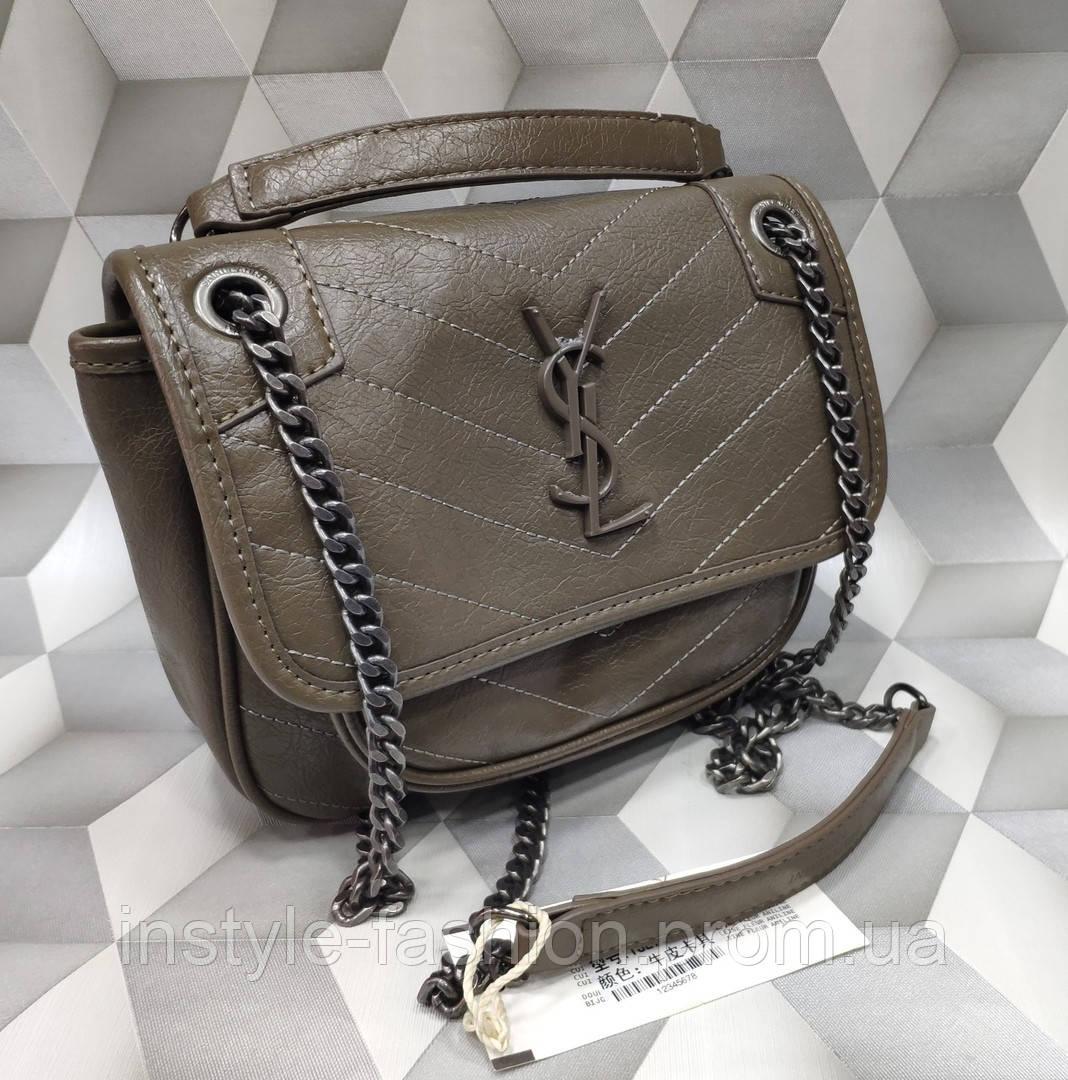 f2c77624c564 Женская сумка-клатч копия YSL Yves Saint Laurent качественная эко-кожа  коричневая