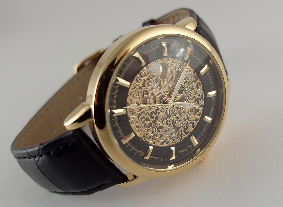 dc661e686a32a3 Мужские часы Omega skeleton, механика с автозаводом, золотой с черным  циферблат - 4asovoy в