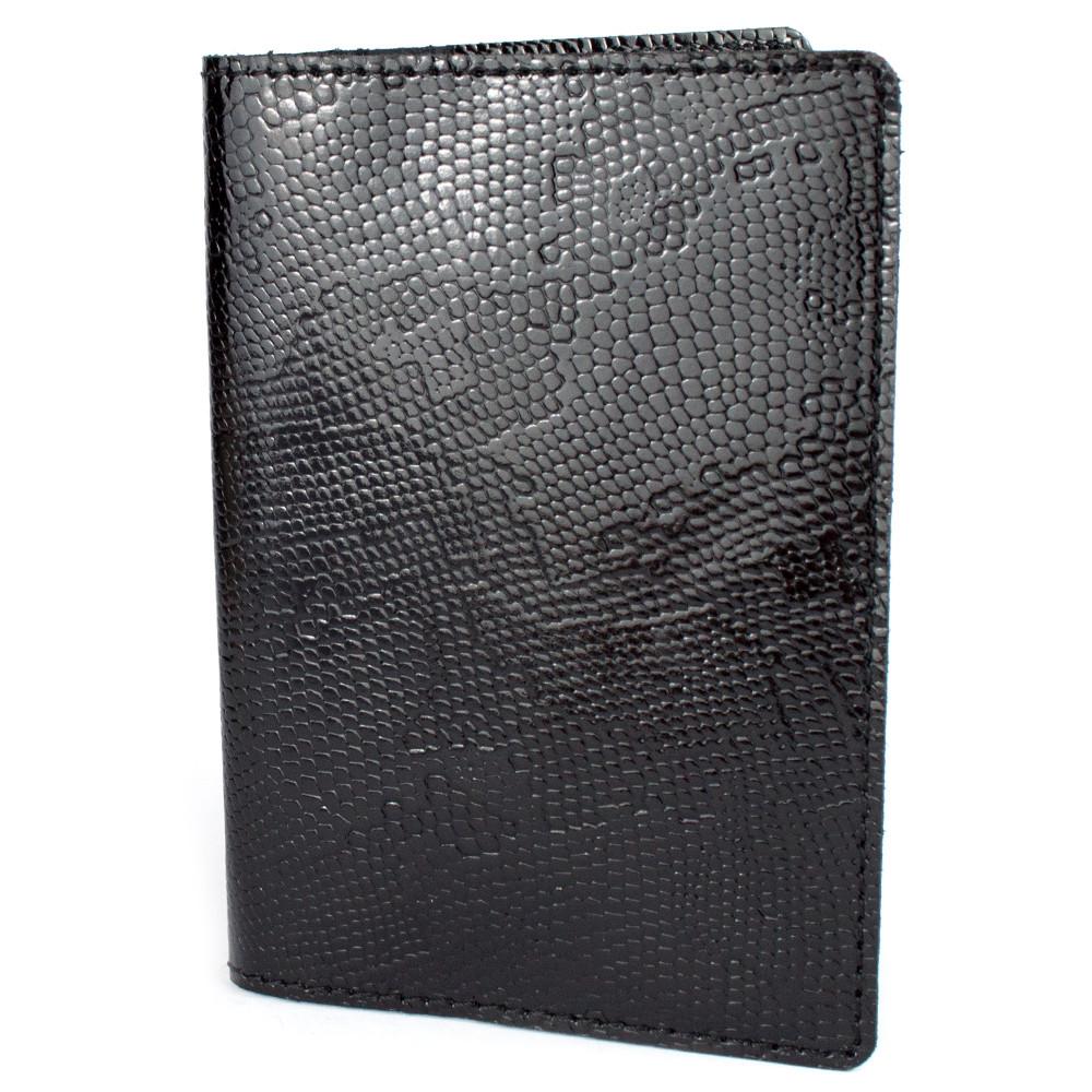 Кожаная обложка на паспорт Lika (черный питон)