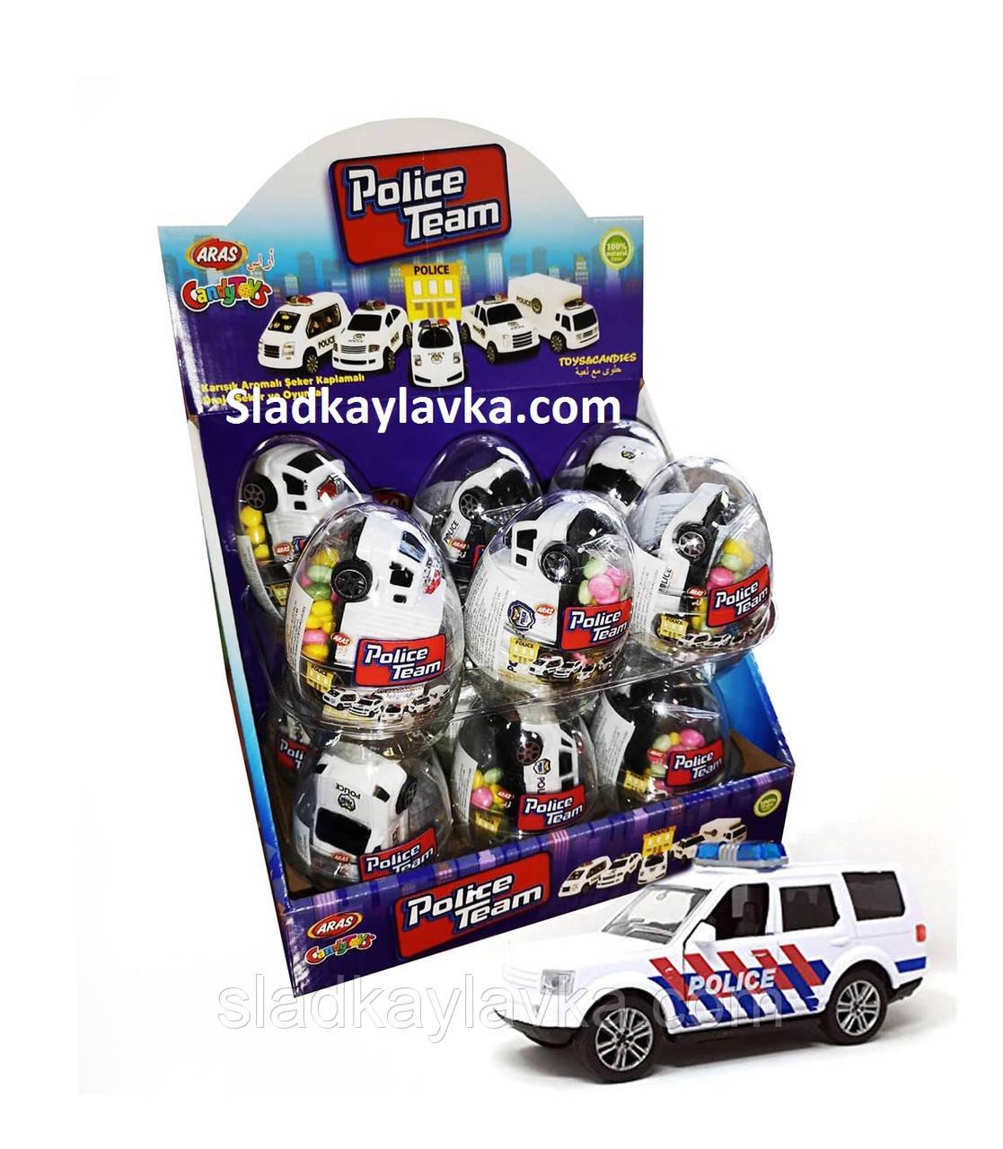 Яйцо Машина Полиция с драже 12 шт (Aras)