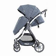 Коляска прогулочная TILLY Cross T-171 Blue текстиль лен дождевик Гарантия качества Быстрая доставка, фото 3