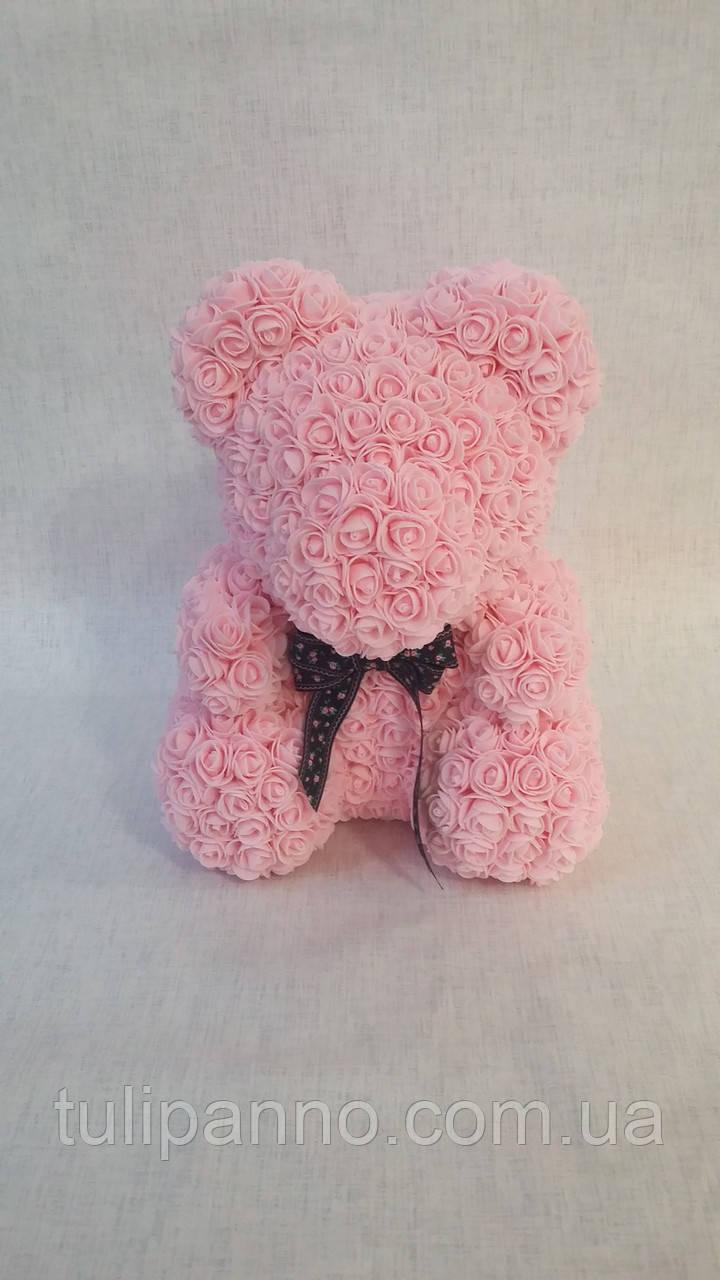 Мишка из роз большой (розовый)