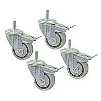 Комплект (4шт) поворотных роликов с тормозом