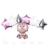 """Большой набор  фольгированных шаров """"Новорожденная"""" (7шт) , фото 1"""