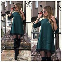 Женское платье с кружевом Эмили темно-зеленое , женские платья