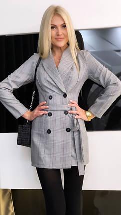 """Короткое платье-пиджак в клетку """"Simona"""" с поясом и длинным рукавом, фото 2"""