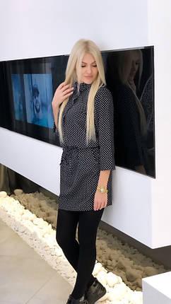 """Короткое приталенное платье-рубашка  в горошек """"Lydia"""" с рукавом 3/4, фото 2"""