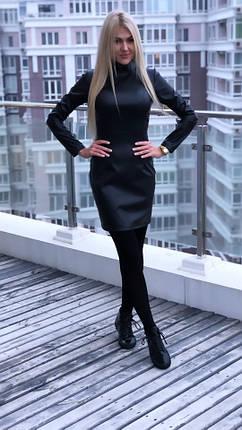 """Короткое кожаное платье-гольф """"Carey"""" с длинным рукавом, фото 2"""