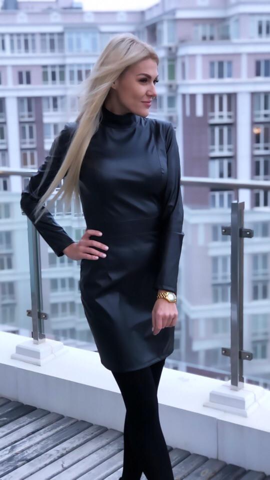 """Короткое кожаное платье-гольф """"Carey"""" с длинным рукавом"""