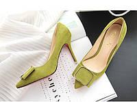 Замшевые туфли с пряжкой каблук 9 см  2 цвета