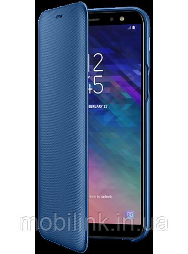 Чехол Samsung Wallet Cover Blue для Galaxy A6 A600