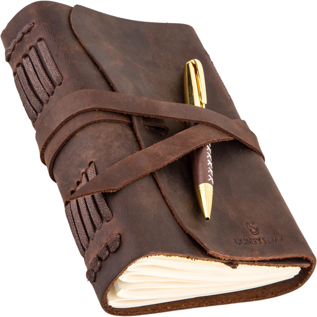 Кожаный блокнот COMFY STRAP коричневый с ручкой В6 (17,6х13,5х3,5 см) ручная работа