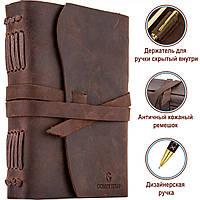Кожаный блокнот COMFY STRAP коричневый с ручкой В6 (17,6х13,5х3,5 см) ручная работа, фото 2