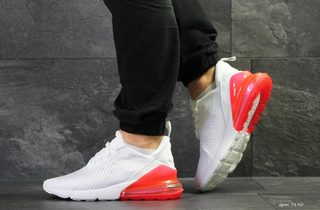 Мужские кроссовки Nike Air Max 270 сетка,белые с красным