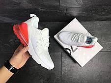 Мужские кроссовки Nike Air Max 270 сетка,белые с красным, фото 3