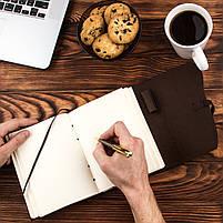 Кожаный блокнот COMFY STRAP коричневый с ручкой В6 (17,6х13,5х3,5 см) ручная работа, фото 6
