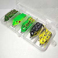 Набор лягушек (жаб) незацапляек 5 штук в коробке, вес приманки 8 г, длина 5 см