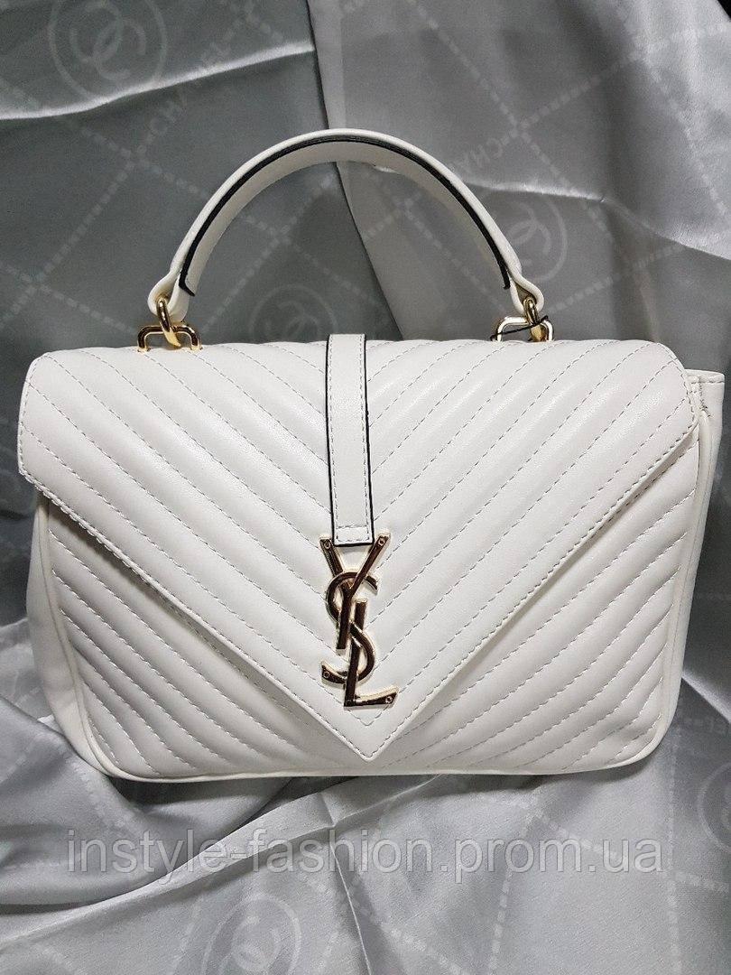 02b35c8505de Женская сумка-клатч копия YSL Yves Saint Laurent качественная эко-кожа цвет  белый -