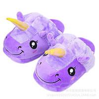 Домашние тапочки Единороги / тапки плюшевые фиолетовые, 35-40 размер