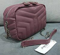 Женский клатч на цепочке копия YSL Yves Saint Laurent качественная эко-кожа цвет бордовый