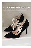 Элегантные  туфли с жемчугом каблук 10 см  4 цвета