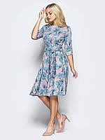 📐Трикотажное платье в цветочный прин / Размер 42,44,46,48,50,52,54,56,58 / P12A7B1 - 35021/1 (плаття, рукав 3/4)