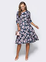 📐Теплое платье в цветочный прин с рукавом 3/4 / Размер 50,52,54,56,58 / P12A7B1 - 35021 (плаття, з карманами)