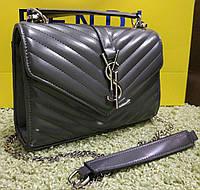 06b9dba9a601 Женский клатч на цепочке копия YSL Yves Saint Laurent качественная эко-кожа  цвет серый