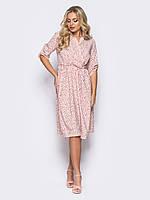 📐Летнее платье с лифом на запах / Размер 48-50,52-54 / P12A7B1 - 17402 / (Легке плаття з рукавами 3/4, рожеве)