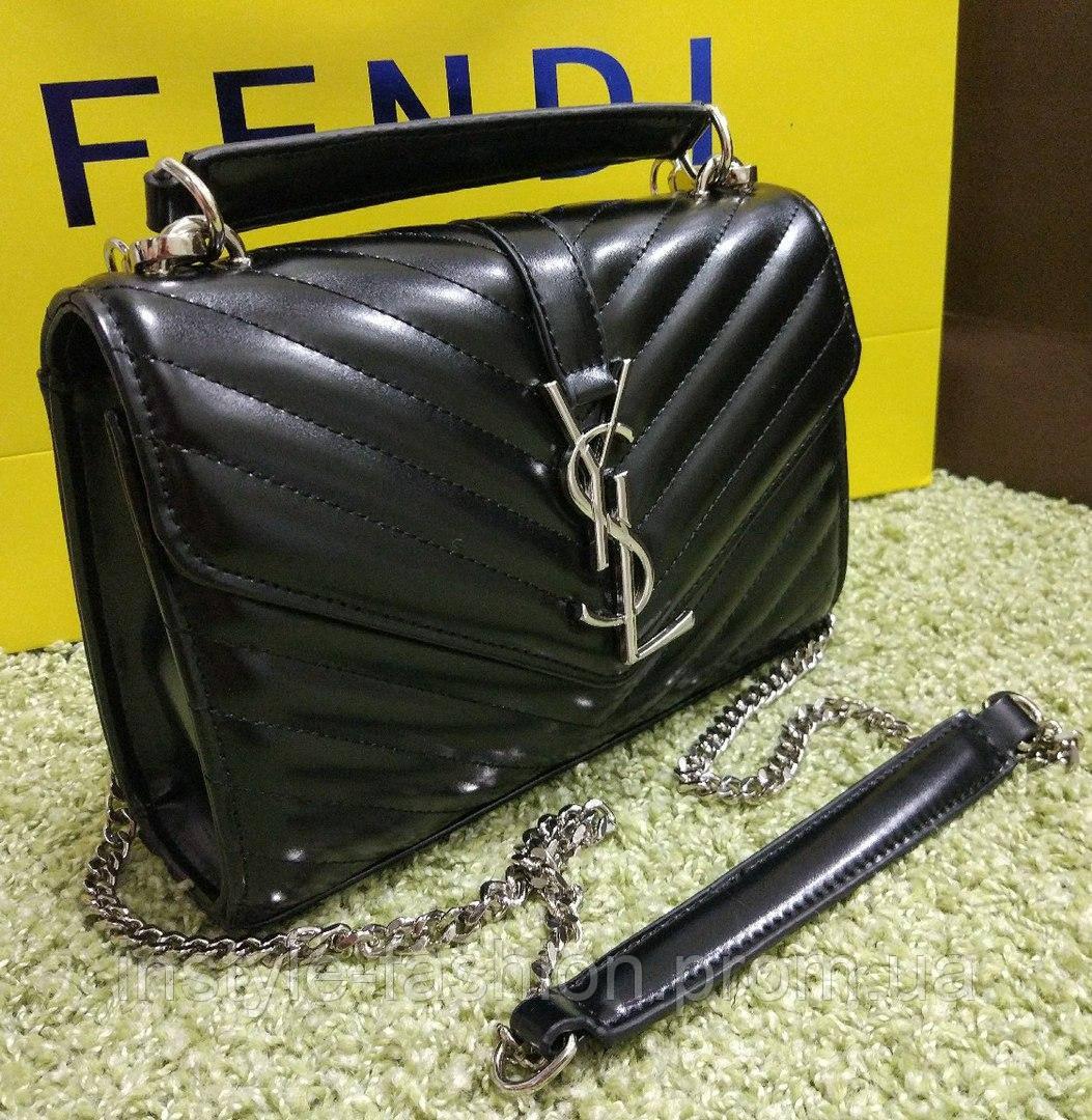 1de5ff5cd536 Женский клатч на цепочке копия YSL Yves Saint Laurent качественная эко-кожа  цвет черный