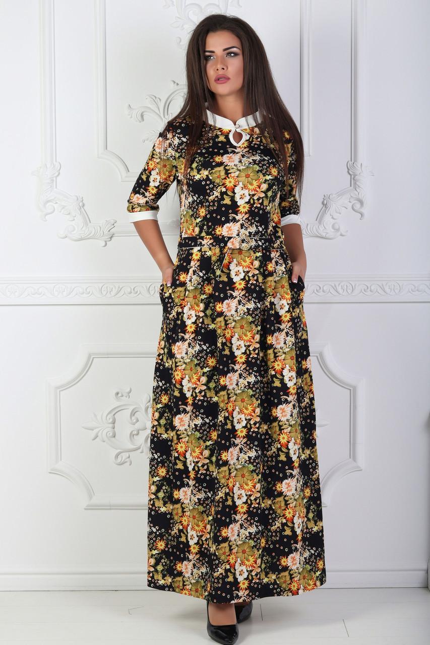 Платье длинное в пол с цветочным принтом 44-50 р