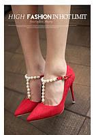 Элегантные  туфли с жемчугом каблук 10 см  4 цвета, фото 1