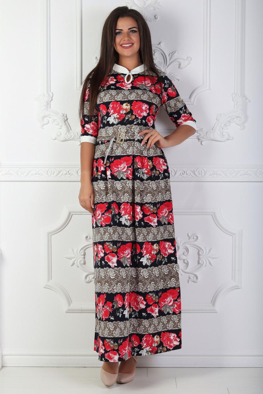 Трикотажное длинное платье в пол 46-52 р