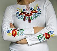 Женская вышиванка длинный рукав белая.