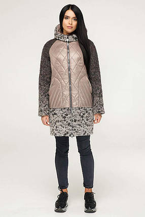 620a3eb8a657 Стильное женское комбинированное пальто рр 44-62