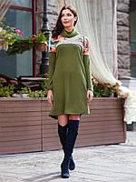 📐Трикотажное платье с контрастной кокеткой / Размер 44,46,48 / P12A7B1 - 16218/4 (Плаття, комір-хомут)