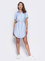 📐Легкое платье-рубашка с коротким рукавом / Размер 48 / P12A7B1 - 45187/1 (Плаття, на гудзиках, з поясом)