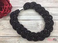 Колье бордо 18860 плетенная косичка объемное ожерелье на шею