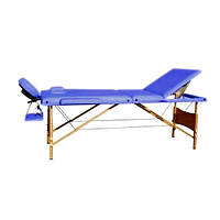 HY-30110-1.2.3   Массажный стол 3-х секционный (дерев. рама) синий