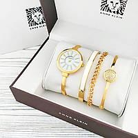 Часы женские - ANNE KLEIN и 3 браслета, золотистый корпус