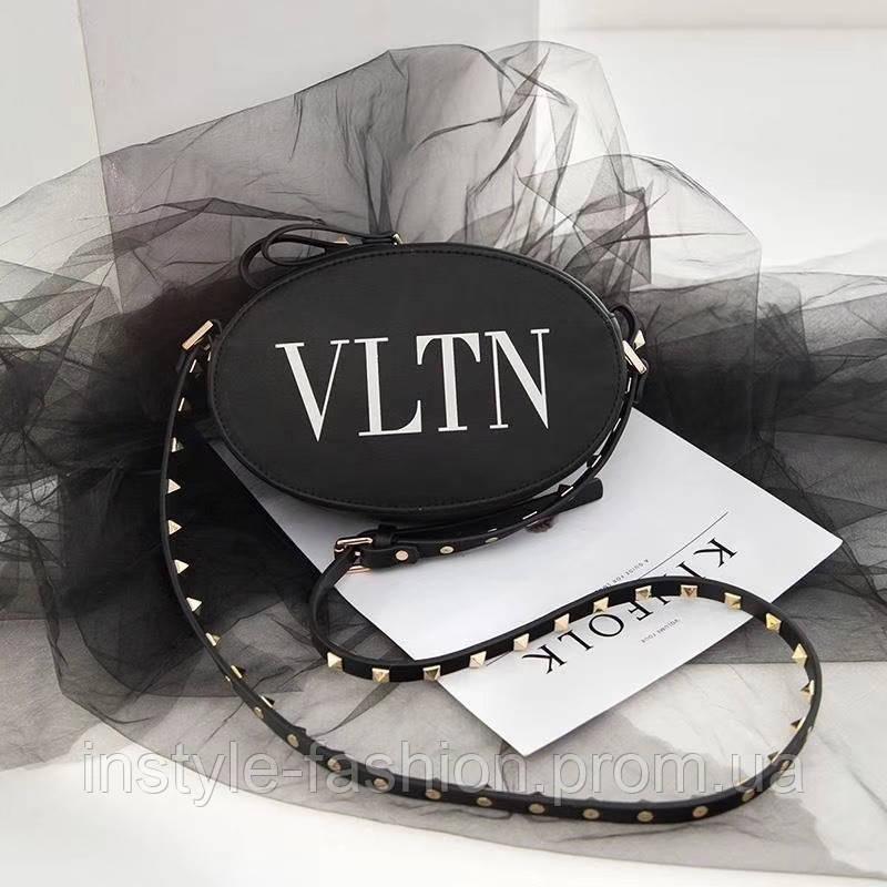 Женская круглая сумка копия Валентино Valentino качественный кож заменитель дорогой Китай черная