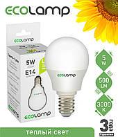 LED лампа 5 Вт, E14 теплый свет