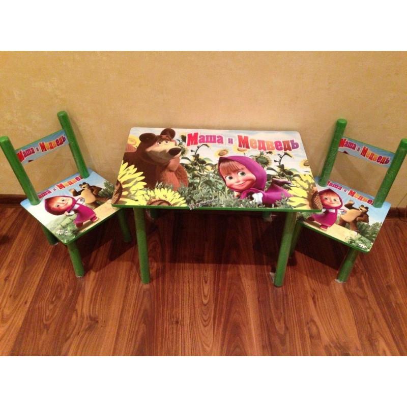 Детский столик и 2 стульчика серия мультфильма Маша и Медведь